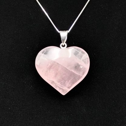 Colgante de Corazón de Cuarzo Rosa con Pincho en Plata