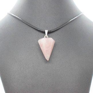 Colgante de cuarzo rosa con forma de péndulo