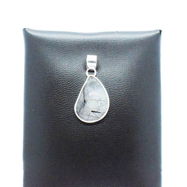 Colgante de Cuarzo con Turmalina Negra en Plata