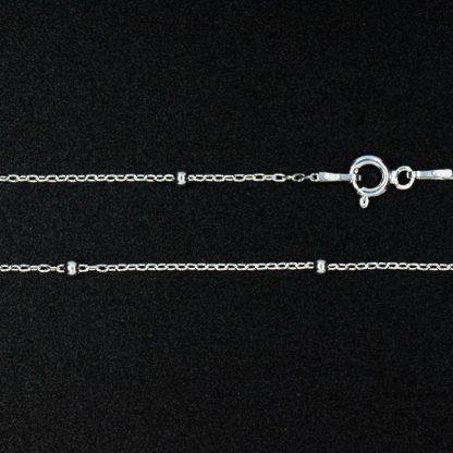Cadena de Plata Forzada con Esferas Pequeña 50cm