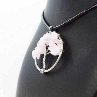Colgante Arbol de la Vida Cuarzo Rosa