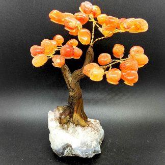 Árbol de Ágata Cornalina con Base en Amatista