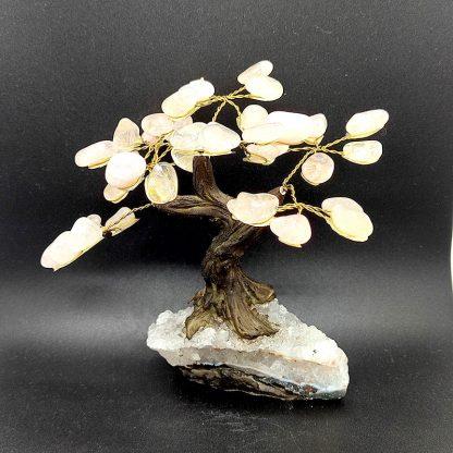 Árbol de Cuarzo Rosa con Base en Amatista