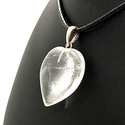 Colgante Corazón de cuarzo blanco con Plata
