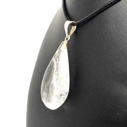 Colgante Gota Cuarzo Blanco con Plata