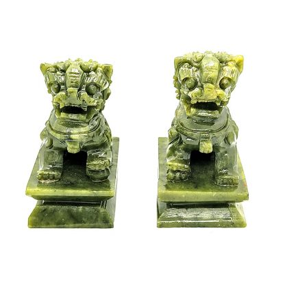 Pareja de Leones de Fu de Jade