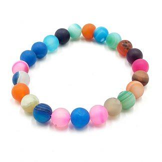 Pulsera de Esfera Ágata Multicolor Mate